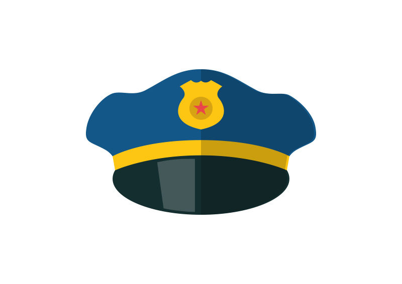 d5168dff8bd Police Hat Free Flat Style Vector Icon