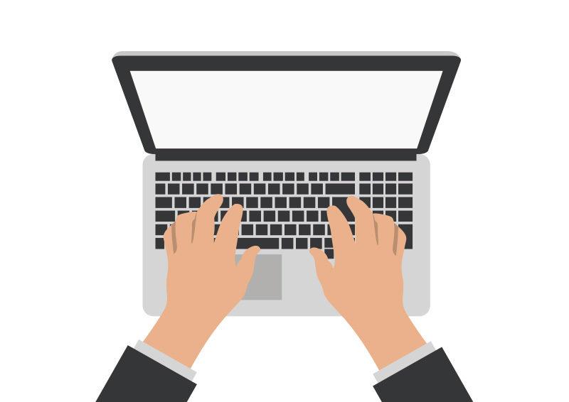 hands on laptop computer vector superawesomevectors