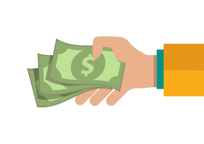 Hand Giving Money Flat Vector - SuperAwesomeVectors